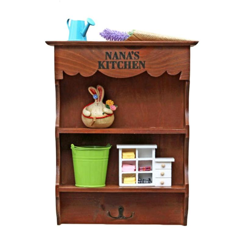 Home Wall Mounted Wooden Vintage Storage Rack Wall Hanging Decorative Storage Box Groceries Wall Shelves With Keys Hook V3