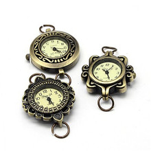10pcs Alloy Watch Face Watch Head Watch Components, Mixed Style in Random, Antique Bronze, 27~32x28~34x7~8mm, Hole: 6~7mm