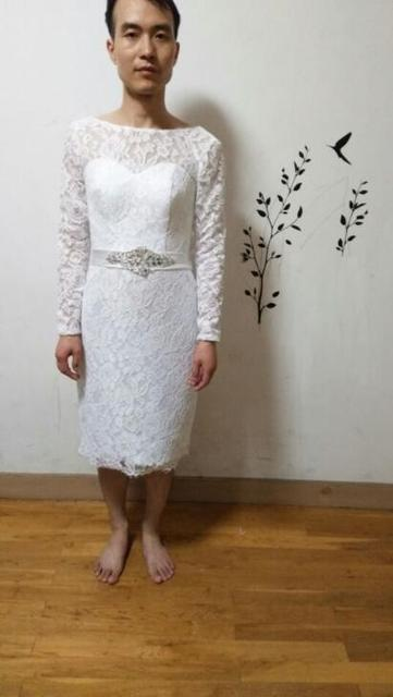 2017 Saudi Arabia White Lace Sheath Short Wedding Dress Knee Length Pee Long Sleeve Informal
