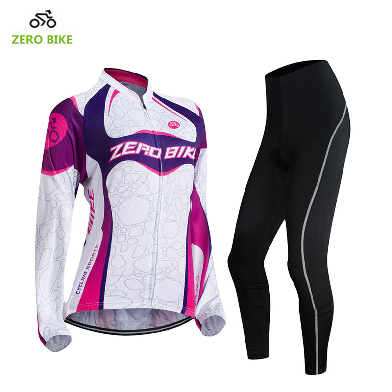 ZEROBIKE Spring Autumn Long Sleeves Cycling Set Womens Mountain Bike Clothing Breathable Bicycle Jerseys Clothes Ropa Ciclismo