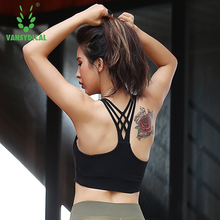 Vansydical  Strappy Bra Women New Sport Bra Cropped Breathable Stretch Workout Gym Crop Top Tank Tops Jogging Sports Yoga