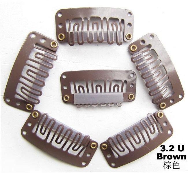 100 шт/партия зажим для наращивания волос металлический зажим, парик для наращивания волос 32 мм цвет коричневый