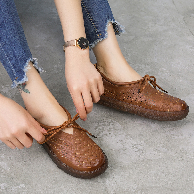 Image 3 - GKTINOO Women Flat Shoes Lace Up Moccasins Soft Genuine Leather Ladies Shoes Handmade Flats Hollow Casual Women Shoes-in Women's Flats from Shoes