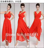 2014 Fashion Beach Dress Long Dress For Woomen Chiffon Summer Plus Size V Neck Holiday Party