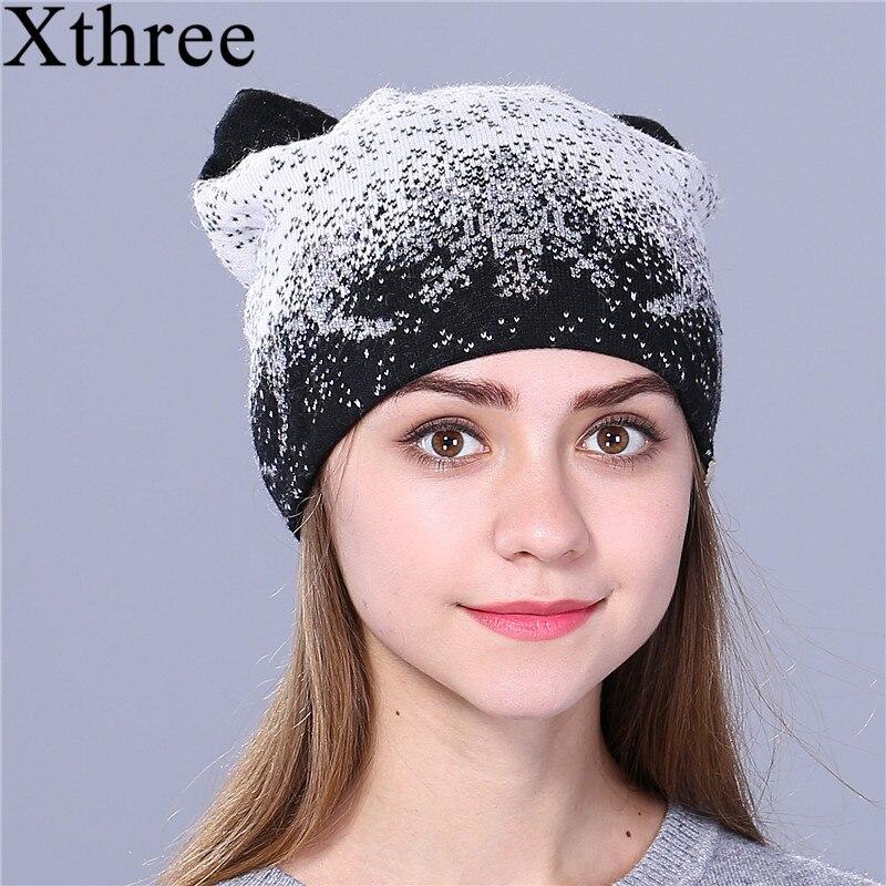 Xthree gatito lindo sombrero de invierno para las mujeres piel de conejo de lana de punto sombrero gorros sombrero feminino para la muchacha