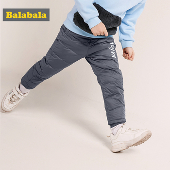 Balabala Todder Boy Quilted Down Pants Chinon Lined Kids Pull-on Pants Down Filling with Pocket Ribbed Waist Reinforced Hem