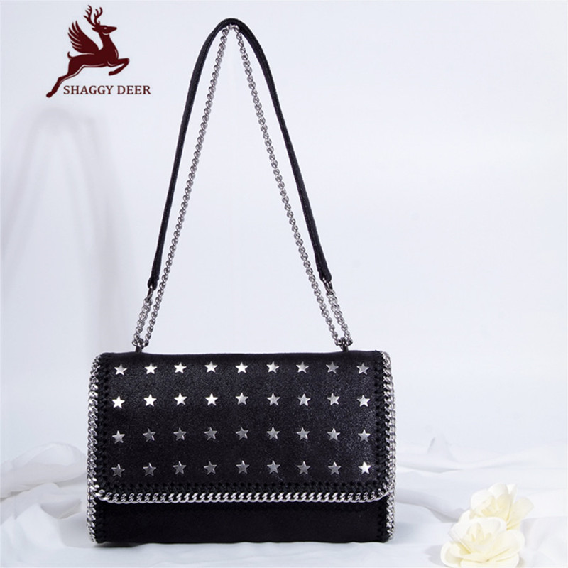 2017 Shaggy Deer Brand PVC Europe Fashion Rivets Star Strap Handbag Luxury Designed Stella Shoulder Bag mini gray shaggy deer pvc quilted chain bag with cover real picture