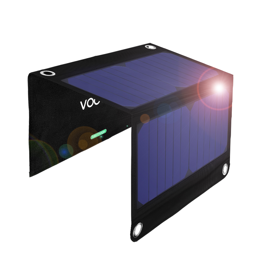 VODOOL 2-Port USB 14W / 2.33A  Solar Powered Foldable Portable Dual USB Sun Power Solar Cell Panel Charger for Phone Cameras