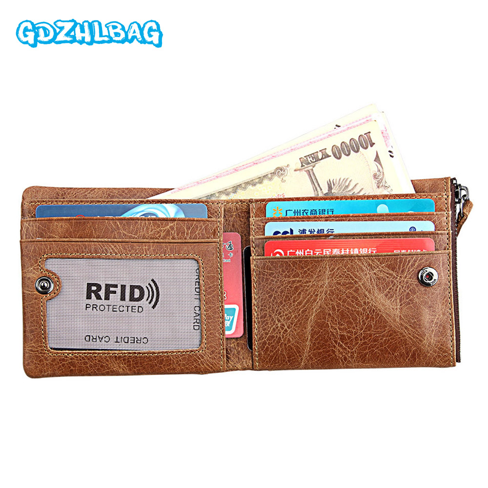 GDZHLBAG Genuine Leather Men Rfid Wallets Genuine Leather Walet Men Card Holder with Zipper Coin Purse Pocket for cards B17801