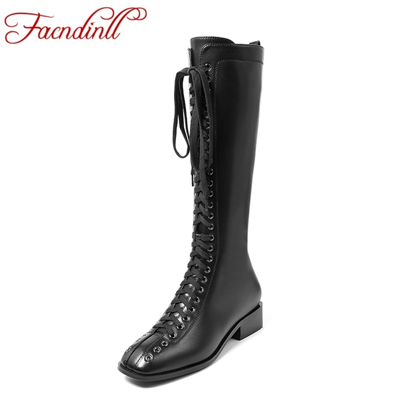 FACNDINLL new genuine leather women knee high boots shoes black zipper autumn winter shoes woman motorcycle riding boots shoes facndinll genuine leather sandals for
