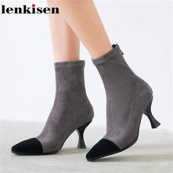 Lenkisen new flock art design strange style zip elegant mixed color big size fashion streetwear autumn winter ankle boots L72