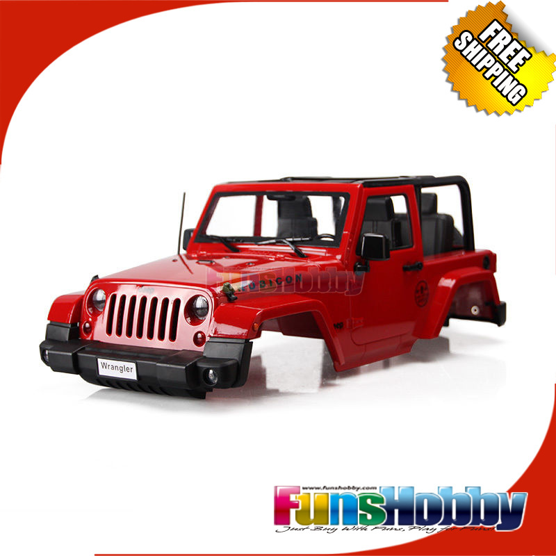 FH34003 MHPC Scaled Jeep Wrangler Body Shell  Convertible For 1/10 RC Crawler Axial D90 4WD Red