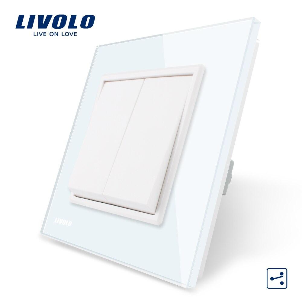 Livolo EU standard Luxus Weiß/Schwarz Kristall Glas-Panel, Zwei Banden, 2 möglichkeit Push Button Startseite Wand Schalter, VL-C7K2S-11/12