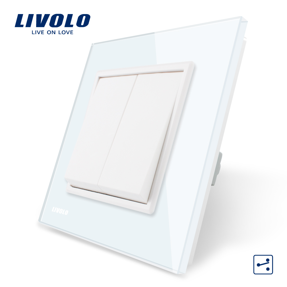 Livolo Manufacturer EU standard Luxury White Crystal Glass Panel, Two Gangs,2 Way Push Button Home Wall Switch, VL-C7K2S-11