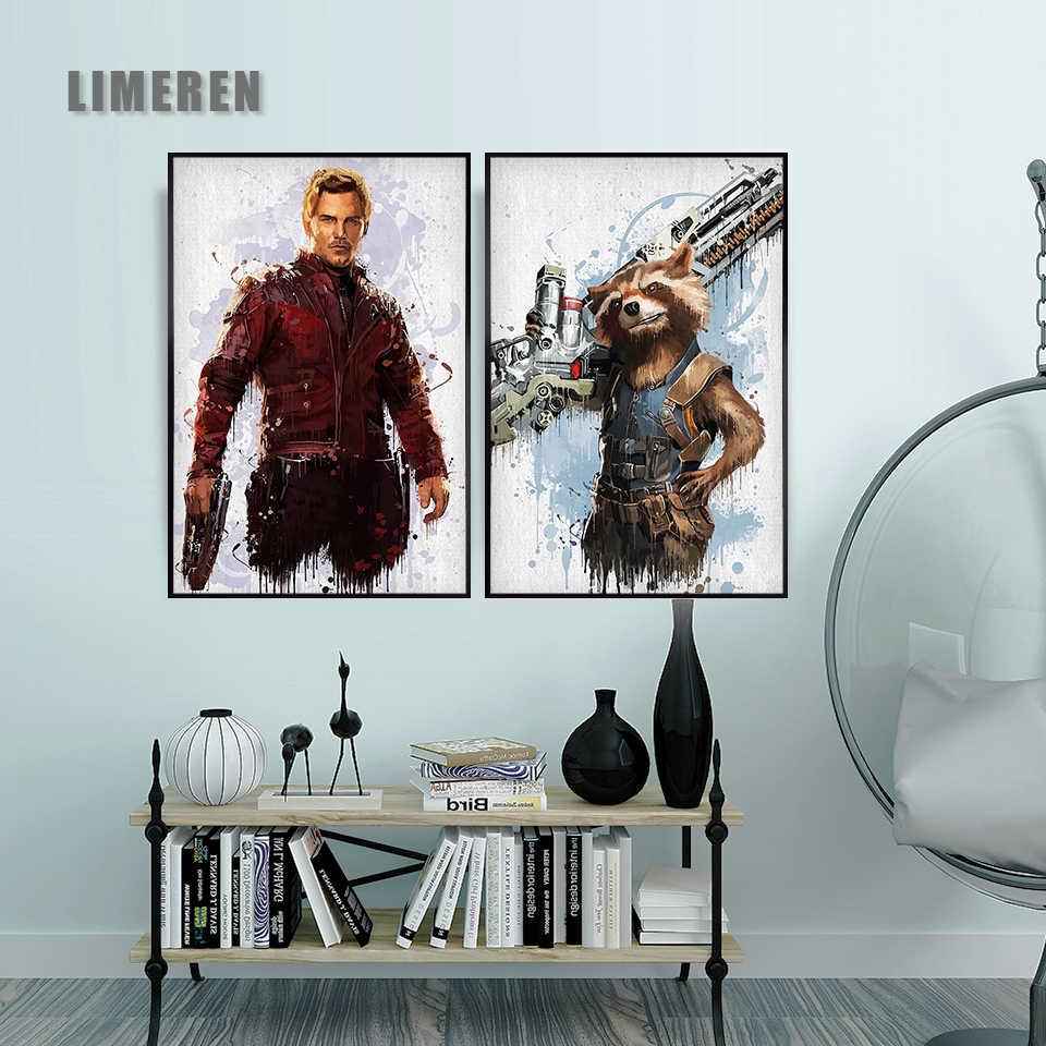 Стены искусства холст с печатью постера картины стены для домашнего декора Марвел мститель Фильм супергерой Дэдпул Железный человек паук Loki