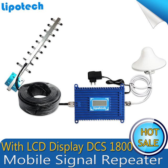 4G LTE FDD GSM 1800 Mhz Teléfono Móvil Amplificador de Señal de 70dB de Ganancia GSM Repetidor de Señal de Teléfono Celular Amplificador + Antena Yagi con Cable
