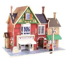 Wooden 3d DIY British Construction Puzzle UK Musical Instrument Shop UK Clothing Store UK Red Teahouse UK Bar Decoration model