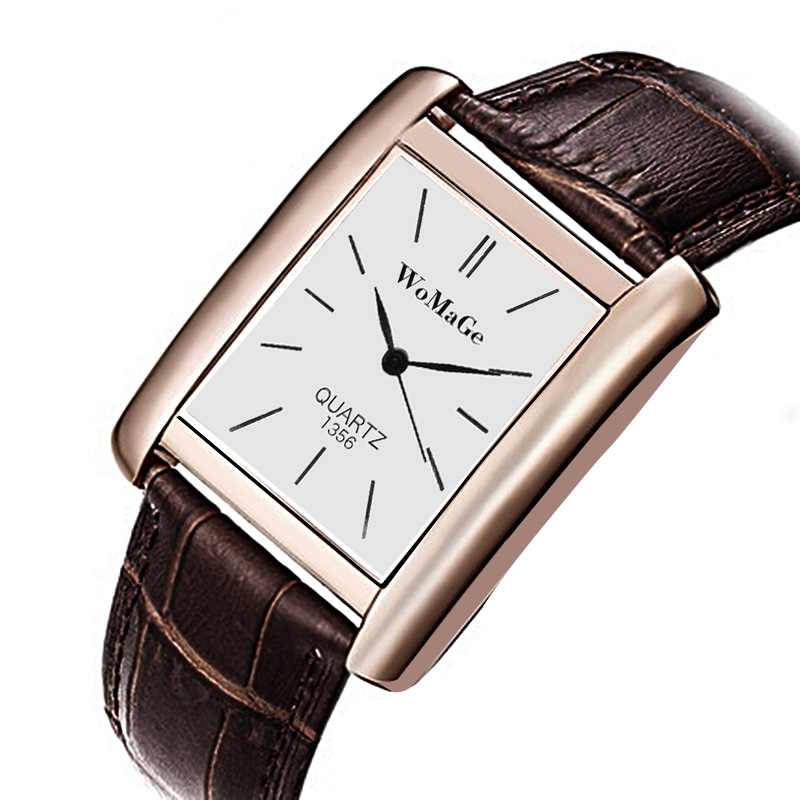 WoMaGe Simple Fashion Rectangle Women's Watches Rose Gold Watch Women Watches Luxury Leather Strap Ladies Watch Reloj Mujer