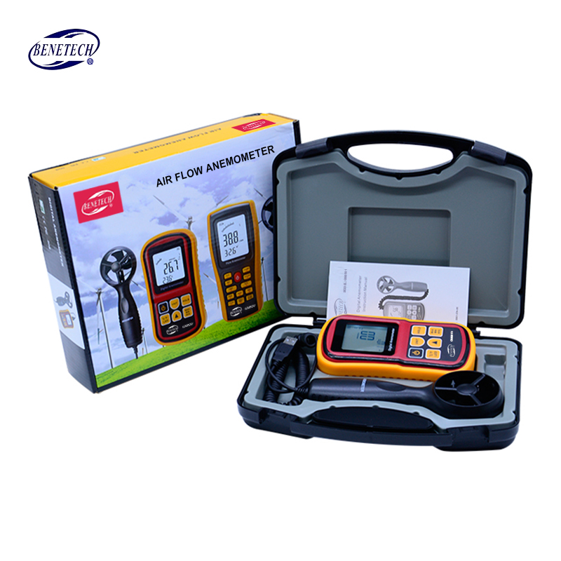 Handheld digital Anemometer 45m/s (88MPH) GM8901 Digital Thermometer Electronic Hand-held Wind Speed Gauge Meter with carry box free shipping gm8901 45m s 88mph lcd digital hand held wind speed gauge meter measure anemometer thermometer