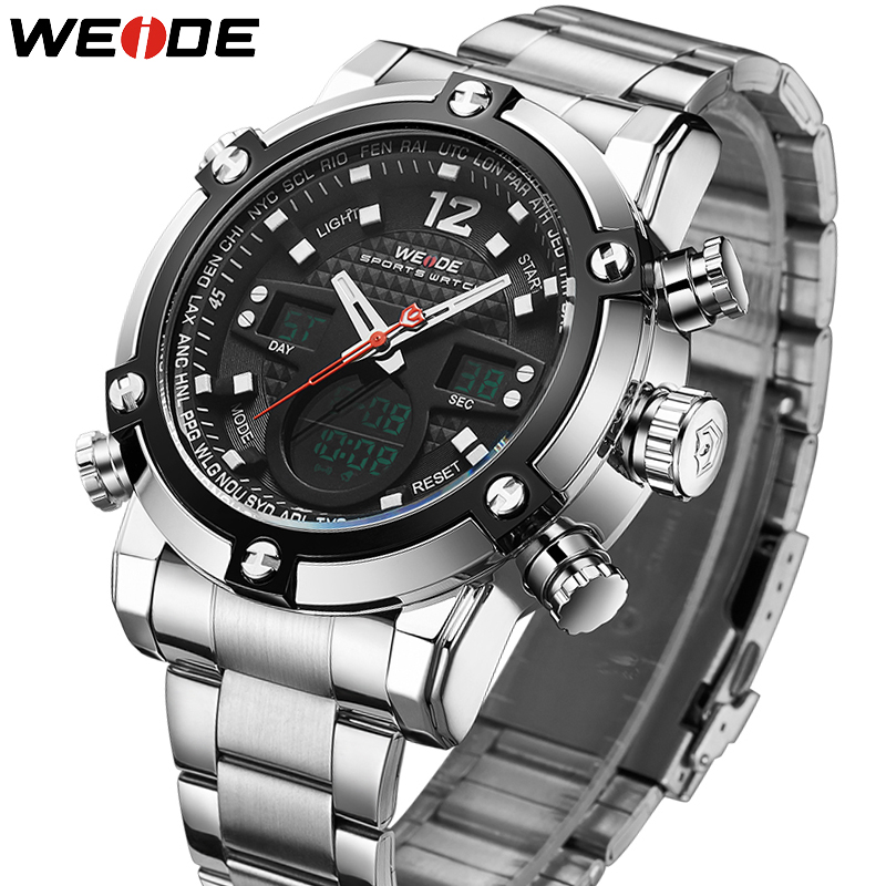 цена WEIDE Watches Men Brand Quartz Men Sports Full Steel Watch Men's Digital Clock Man Army Military Wrist watch relogio masculino онлайн в 2017 году