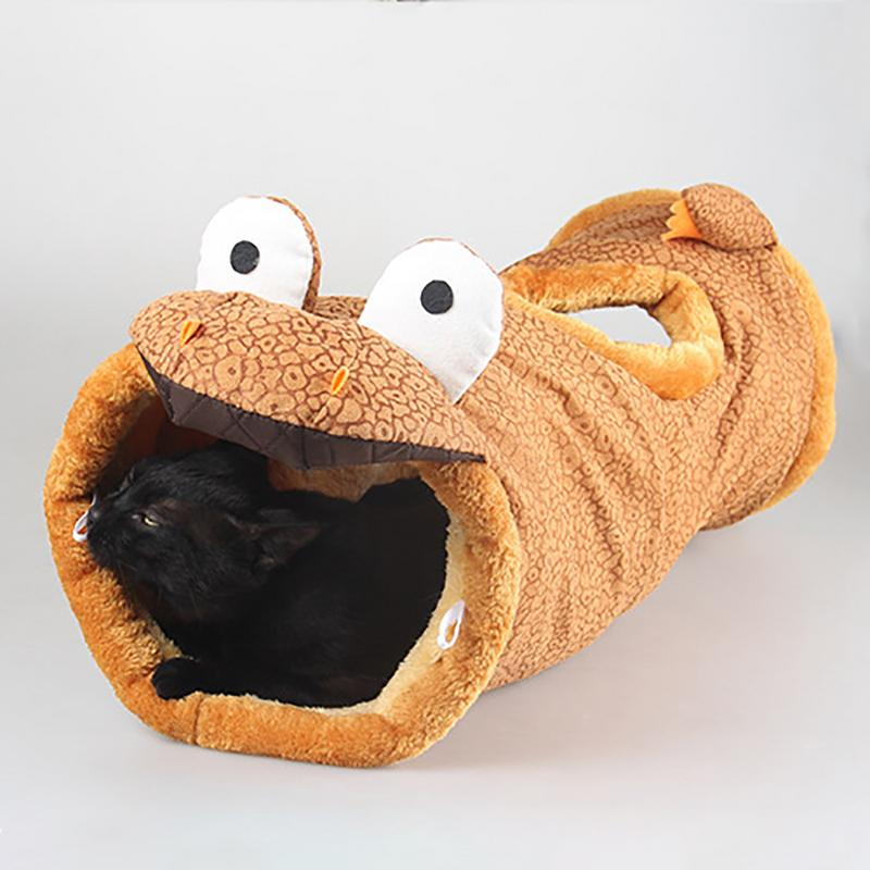 Image 2 - Folding Channel Dinosaur Giraffe Black Cat Tunnel Indoor Outdoor Pet Cat Training Toy For Cat Rabbit Animal Play Tunnel Tube-in Cat Toys from Home & Garden
