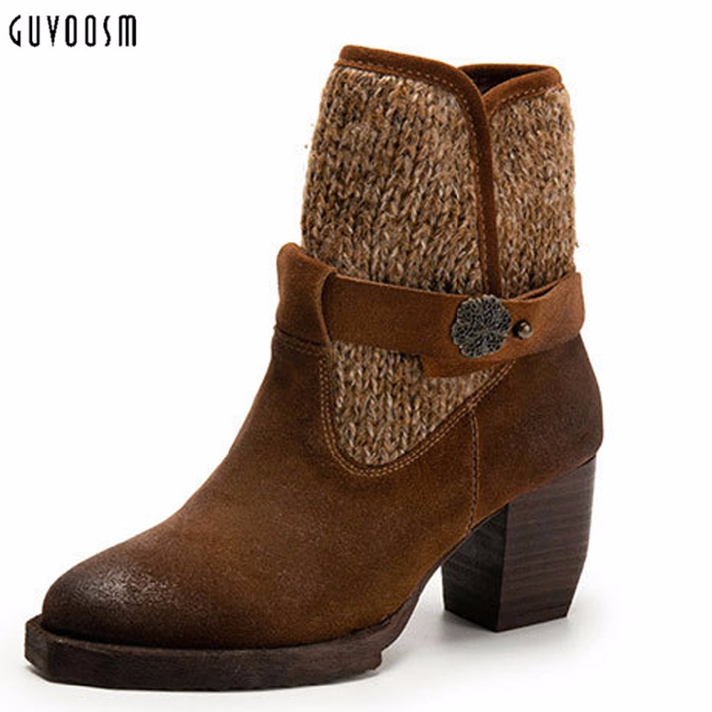 Фото Guvsoom Ankle Boots Women Genuine Leather Handmade Riding Equestrian Bota Feminina Winter Zapatos Mujer Natural Shoes Woman