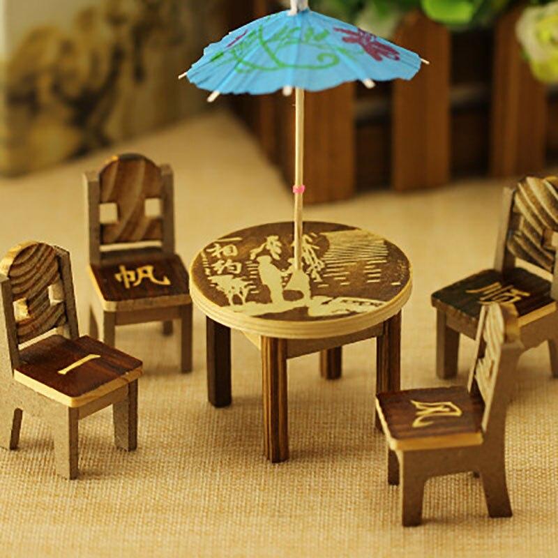 Деревянный стол, стул миниатюрный Craft пейзаж Обеденная Украшения для кухни мебель игрушка кукольная Миниатюра подарки для детей