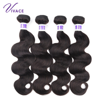 Vivace Human Hair 4 Bundles Peruvian Body Wave Hair 100% Weaves 8 24inch Natural Color Remy Hair Extensions