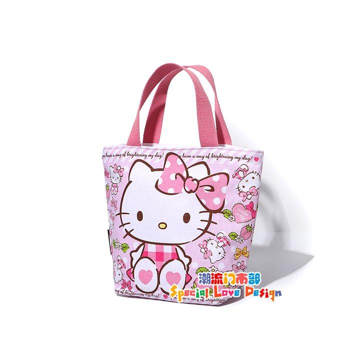 7e8fcd9a24 Cute Hello Kitty Cat Cartoon Pink Shoulder Bag Handbag Tote Lunch Bags for  Girls Women Girls School Book Shopping Bag Zipper -in Shoulder Bags from  Luggage ...