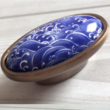 16mm Creative fashion vintage bronze furniture handles white and blue porcelain kitchen cabinet drawer dresser pull ceramic knob