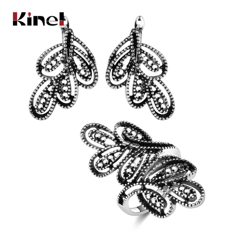 Kinel 2pcs Vintage Jewelry Sets Antique Silver Color Hollow Flower Rings And Crystal Stud Earring Luxury Party Accessories Gift
