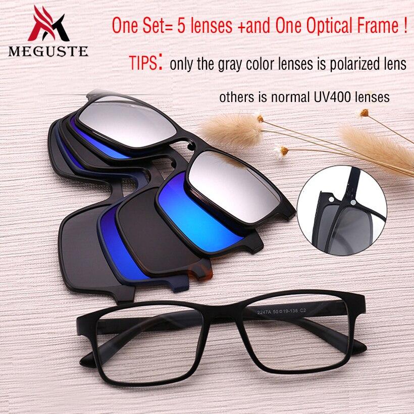 5440c50e6bb Meguste hot selling Magnet Sunglasses Clip Magnetic Mirrored Clip on  Sunglasses men Polarized Clips Custom Prescription .UV400-in Eyewear Frames  from ...