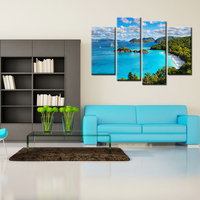 4 Panels Spray Wall Painting Blue Sky And White Clouds Seaview Modern Canvas Art Print Poster Picture Canvas Home Decorative