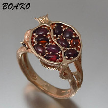 Simulated Red Garnet Rings for Women Rose Gold Color Wedding Vintage Ethinic Pomegranate Jewelry Crystal Ring Bague Femme