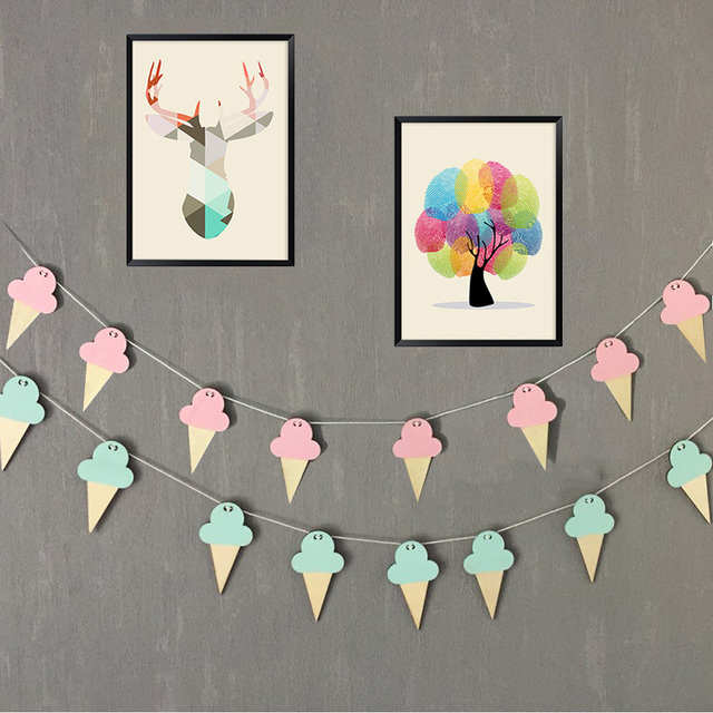 10pcs Ice Cream Woodchips Set DIY Wood Banner Wall Hanging For Kids Bedroom Decor Bed