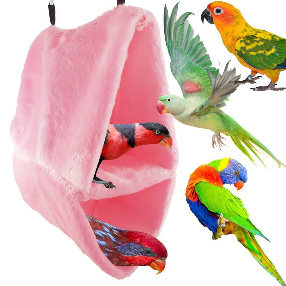 Self-Conscious Hot Sell Plush Bird Parrot Hammock Pet Hanging Bed Tent House Winter Warm Cage Nest Pet Products Home & Garden