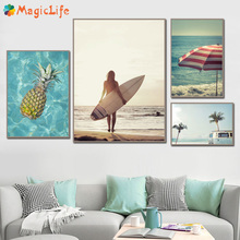 Girl Sea Surf Beach Coconut Tree car Pineapple Decor Wall Art Canvas Painting Nordic Poster Pictures Prints Unframed