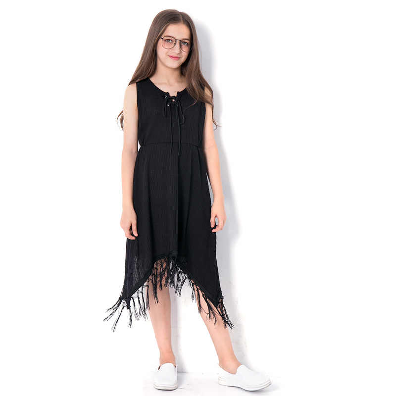 7e1f6aeab19 Teenage Girls Fashion Beach Dress for 5 7 9 11 14 Years Black Tassel Dresses  Sleeveless