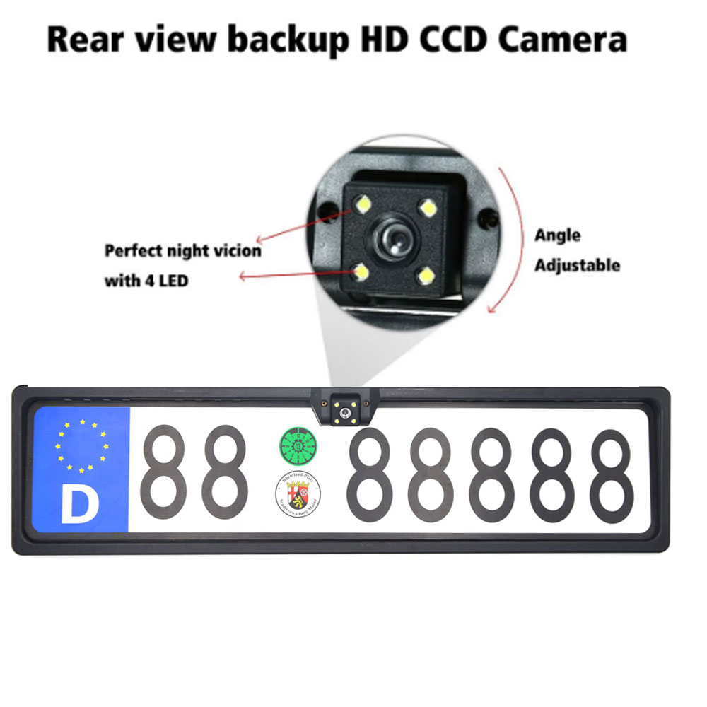 2019 New Arrival 170 European Car License Plate Frame Auto Reverse Rear View Backup Camera 4 LED Universal CCD IR Night Vision