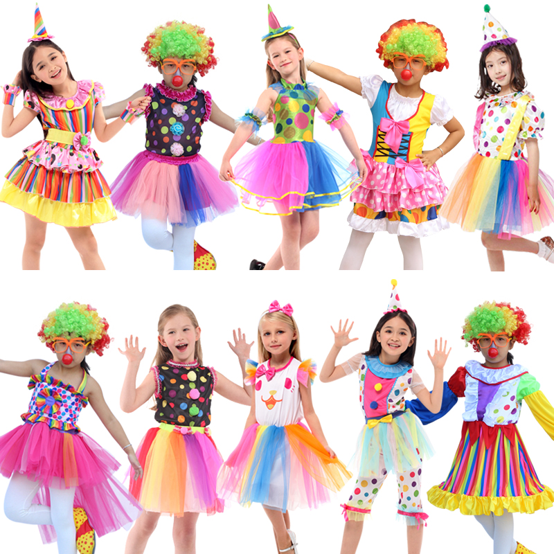 Free shipping Children Kids Baby Jumpsuits & Rompers Halloween Carnival Clown Circus Cosplay Costumes Performance Clothing Party