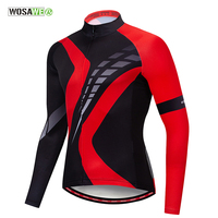 WOSAWE Cycling Jersey Man Long Sleeve Jersey Men Bicycle Clothing Outdoor Breathable Quick dry Mountain Road Bike MTB Jersey