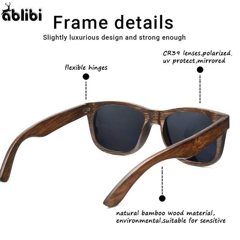 Ablibi hombres de bambú de madera gafas de sol negro lente de ...