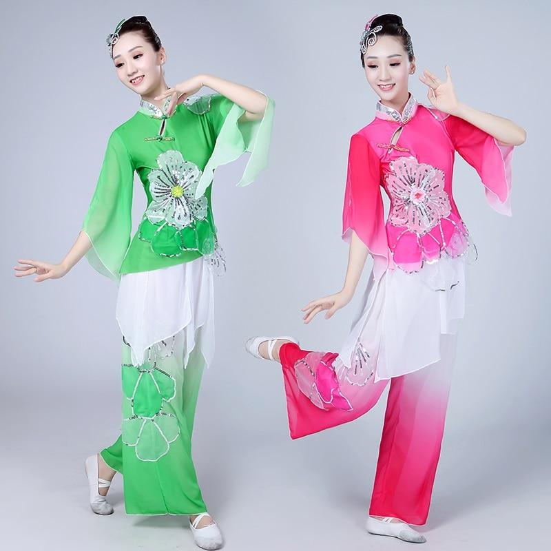 Female Yangge 2019 New Classical Dance Performance Clothing Waist Middle-aged Fan National Umbrella