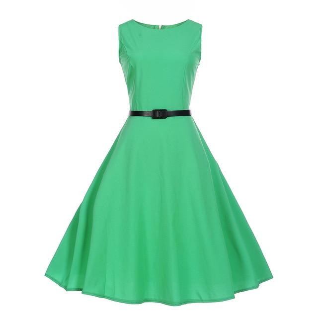 Polka Dot Summer Dress 2019 Sleeveless Tunic 50s Hepburn Black Women Vintage Dress With Belt Elegant Work Party Dresses Sundress