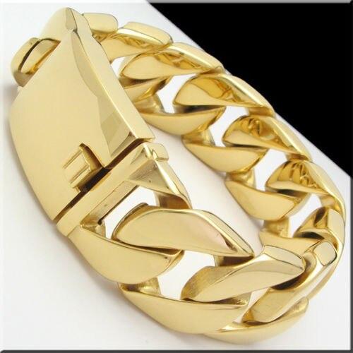 8.5 х 26 мм/9 x 31 мм тяжелая Прохладный Для Мужчинs золотое покрытие Снаряженная Кубинский цепи браслет Новый Лидер продаж 316L stainlss Сталь брасле...