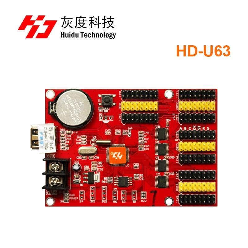 HD-U63 usb-disk port huidu P10 led  control card   max 512x128 Pixels Single Color P4 75 P10 SMD Led screen Control Card