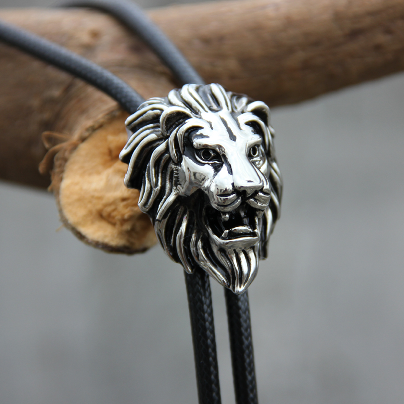Original Designer Bolotie Stainless Steel Lion Head Shape Pendant Bolo Tie For Men Personality Neck Tie Accessory Free Shipping