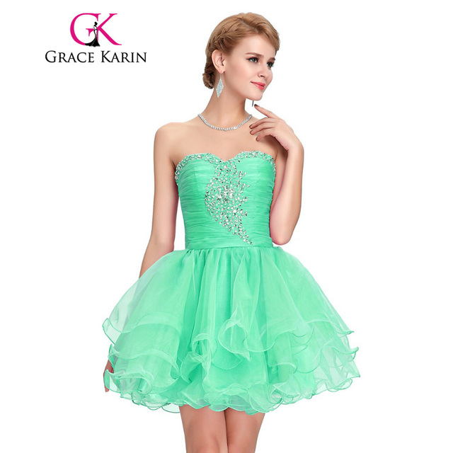 215e6053963 Black Green Pink Purple Girls Ball Short Cocktail Dresses Grace Karin Mini  Sexy Party Gown robe