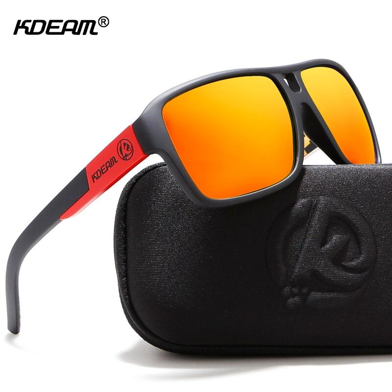 KDEAM proteger sus ojos mermeladas polarizado gafas de sol hombres negro mate gafas de sol hombre Surf deporte gafas con paquete KD520