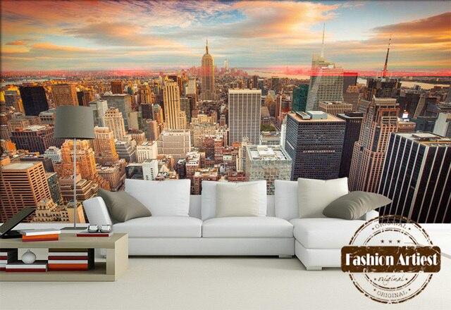Custom 3d modern city view wallpaper mural New york sunrise ...